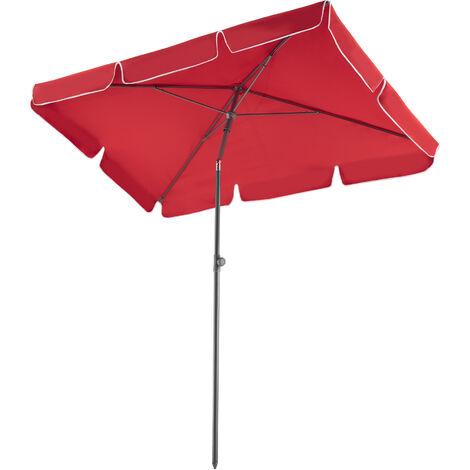 Parasol rectangulaire inclinable 200 cm x 125 cm x 235 cm en Aluminium Rouge