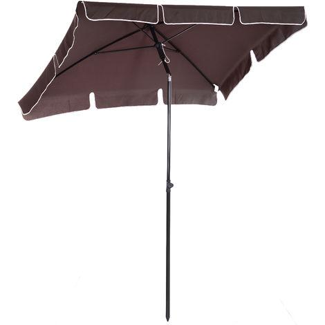 Parasol rectangulaire inclinable alu acier polyester haute densité diamètre 2 m
