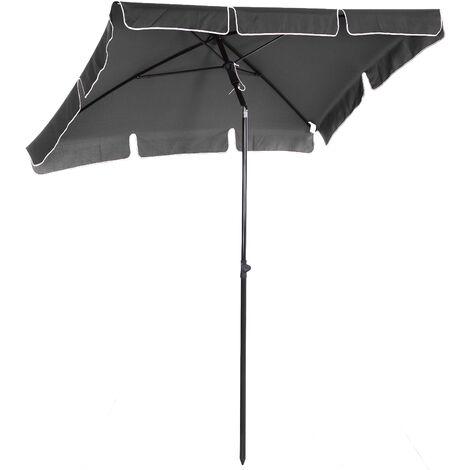 Parasol rectangulaire inclinable alu acier polyester haute densité diamètre 2 m gris