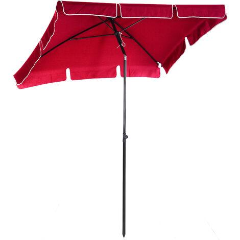 Parasol rectangulaire inclinable alu acier polyester haute densité diamètre 2 m rouge