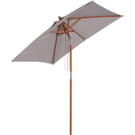Parasol rectangulaire inclinable bois polyester haute densité 2 x 1,5 x 2,3 m