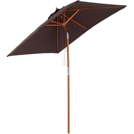 Parasol rectangulaire inclinable bois polyester haute densité 2L x 1,5l x 2,3H m chocolat