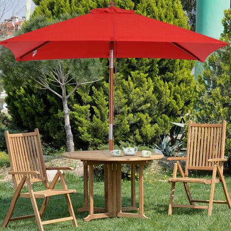 Parasol rectangulaire inclinable bois polyester haute densité 2L x 1,5l x 2,3H m rouge
