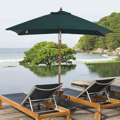 Parasol rectangulaire inclinable bois polyester haute densité 2L x 1,5l x 2,3H m vert foncé