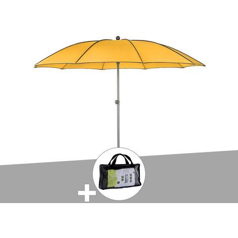 Parasol rond Bogota Ø 2,5 m Safran avec housse de protection - Hespéride