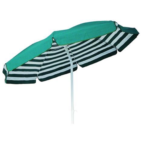 Parasol rond centré coloris Rayé Blanc/Vert Dim : H 215cm x D 200/8 baleines