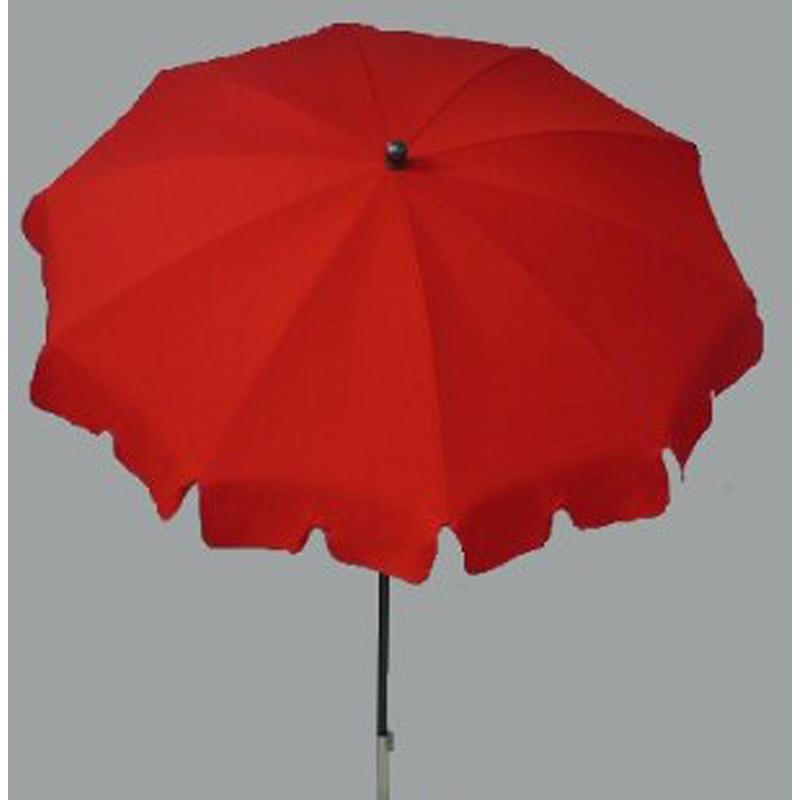 Parasol rond centré coloris Rouge - Dim : H 230 x D 200/10 baleines