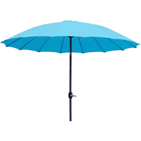 Parasol rond en aluminium coloris bleu - Dim : D 2,50 X 2,40 M -PEGANE-
