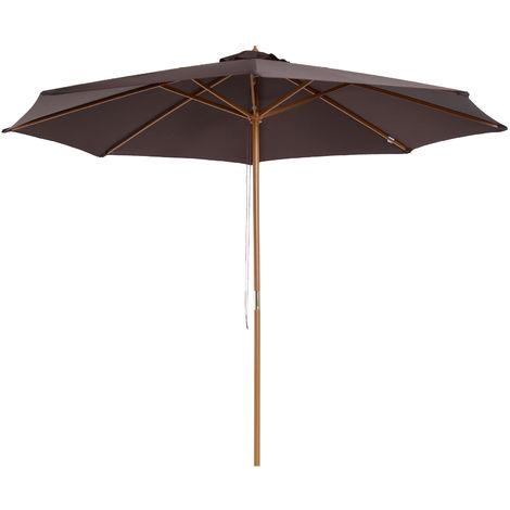 Parasol rond grande taille diamètre 3 m bois polyester haute densité chocolat