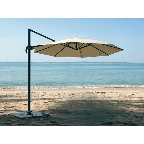 Parasol ronde en aluminium et toile polyester avec pied en croix - Tobago Éco - Ø 3 x 2,66 m - Jardiline