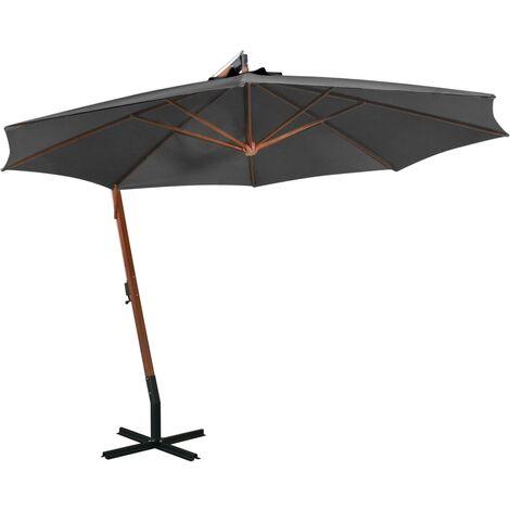 Parasol suspendu avec mât Anthracite 3,5x2,9 m Bois de sapin