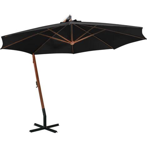 Parasol suspendu avec mât Noir 3,5x2,9 m Bois de sapin massif