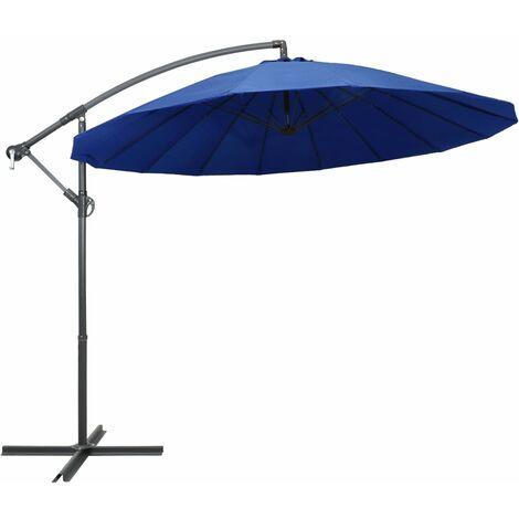 Parasol suspendu Bleu 3 m Mât en aluminium