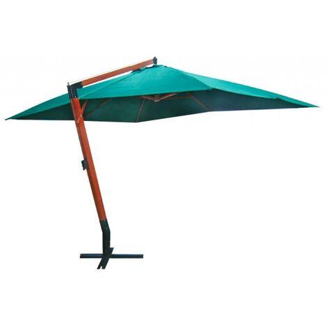 Parasol vert déporté 3x4m pied en bois jardin