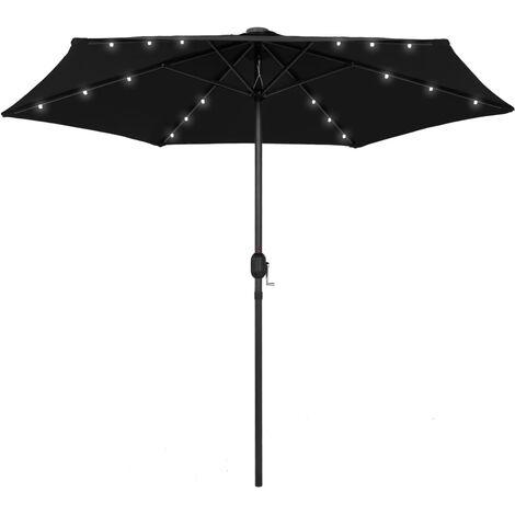 Parasol with LED Lights and Aluminium Pole 270 cm Black