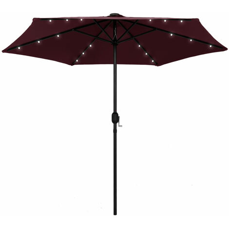"""main image of """"Parasol with LED Lights and Aluminium Pole 270 cm Bordeaux Red"""""""