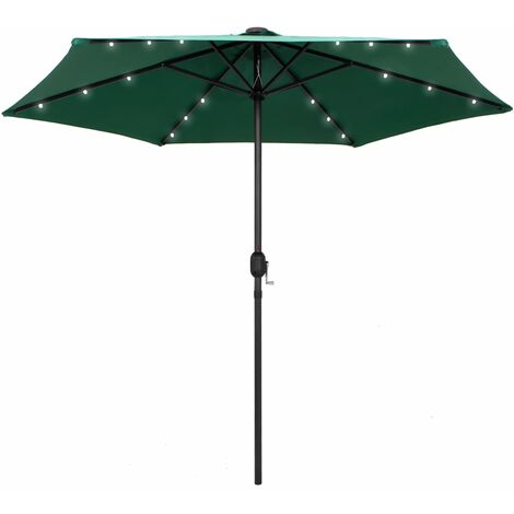 Parasol with LED Lights and Aluminium Pole 270 cm Green