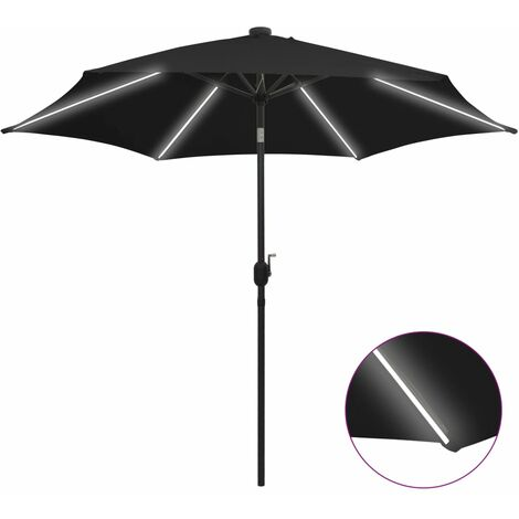 Parasol with LED Lights and Aluminium Pole 300 cm Black