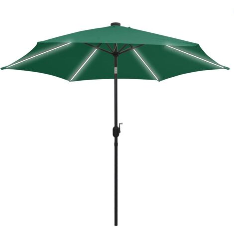 Parasol with LED Lights and Aluminium Pole 300 cm Green