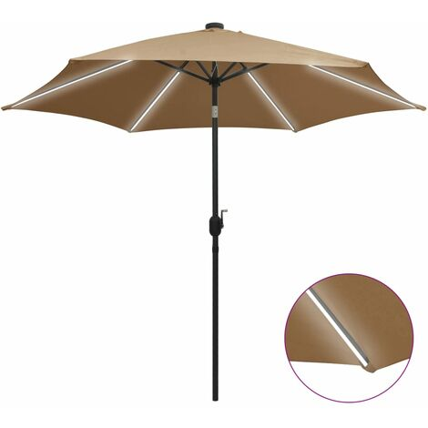 Parasol with LED Lights and Aluminium Pole 300 cm Taupe