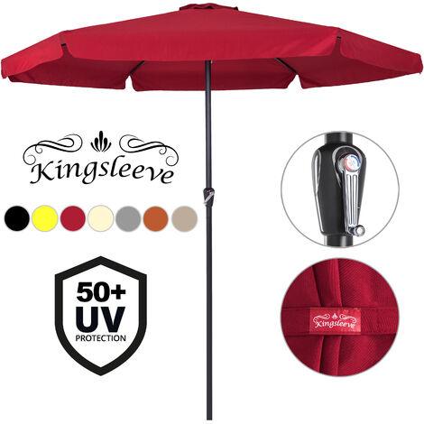 Parasol XXL 330cm droit - Manivelle - Protection UV - Étanche - Jardin - Ombrage soleil - 4 couleurs