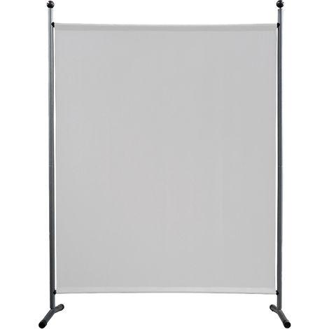 Paravent 150 x 190 cm tela separador de ambientes partición jardín grande Biombo tabique balcón privacidad Blanco