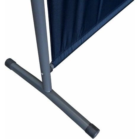 Paravent 150 x 190 cm tela separador de ambientes partición jardín grande Biombo tabique balcón privacidad Negro