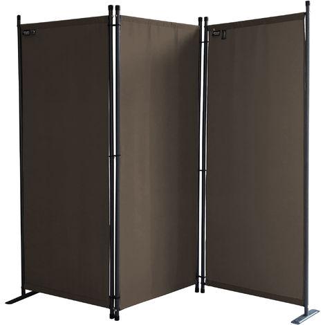 Paravent 170 x 165 cm Tejido Divisor de habitación Jardín 3-Partición Pared de separación Plegable Balcón Pantalla de privacidad Gris Marrón