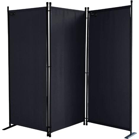 Paravent 170 x 165 cm Tejido Divisor de habitación Jardín 3-Partición Pared de separación Plegable Balcón Pantalla de privacidad Negro