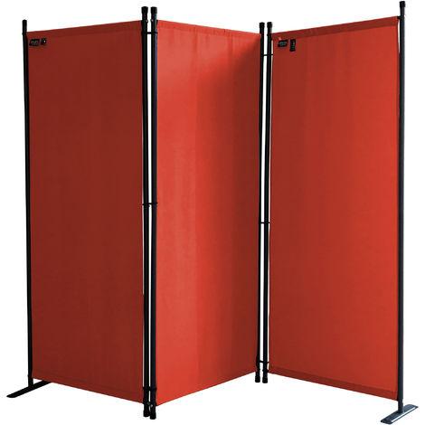 Paravent 170 x 165 cm Tejido Divisor de habitación Jardín 3-Partición Pared de separación Plegable Balcón Pantalla de privacidad Rojo Naranja