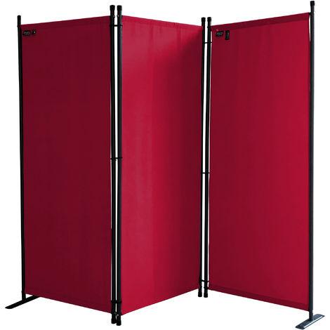 Paravent 170 x 165 cm Tejido Divisor de habitación Jardín 3-Partición Pared de separación Plegable Balcón Pantalla de privacidad Rojo Rubí