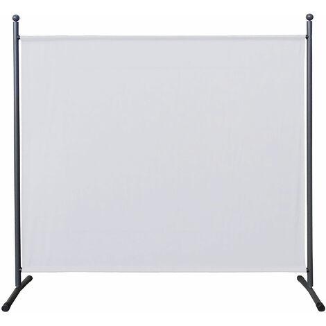 Paravent 180 x 178 cm tela separador de ambientes partición jardín grande Biombo tabique balcón privacidad Blanco