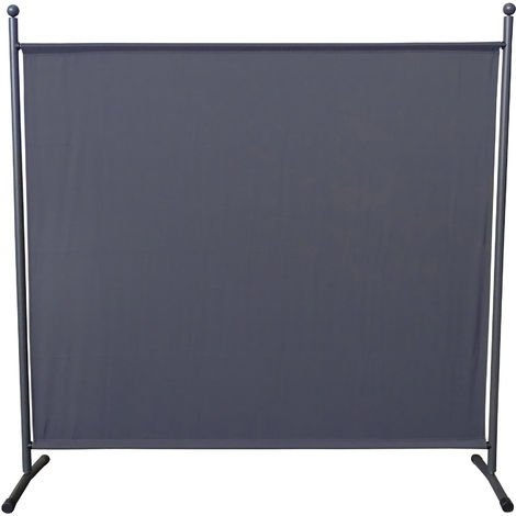 Paravent 180 x 178 cm tela separador de ambientes partición jardín grande Biombo tabique balcón privacidad Gris