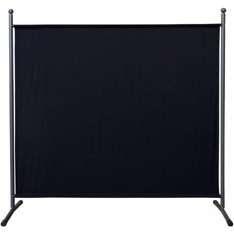 Paravent 180 x 178 cm tela separador de ambientes partición jardín grande Biombo tabique balcón privacidad Negro