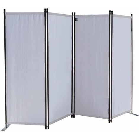 Paravent 220 x 165 cm Tejido Divisor de habitación Jardín 4-Partición Pared de separación Plegable Balcón Pantalla de privacidad Blanco