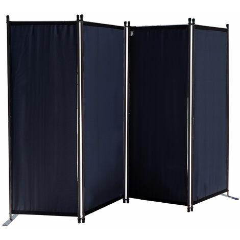Paravent 220 x 165 cm Tejido Divisor de habitación Jardín 4-Partición Pared de separación Plegable Balcón Pantalla de privacidad Negro