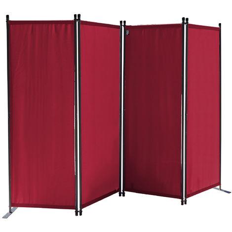 Paravent 220 x 165 cm Tejido Divisor de habitación Jardín 4-Partición Pared de separación Plegable Balcón Pantalla de privacidad Rojo Rubí