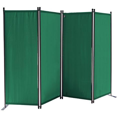 Paravent 220 x 165 cm Tejido Divisor de habitación Jardín 4-Partición Pared de separación Plegable Balcón Pantalla de privacidad Verde
