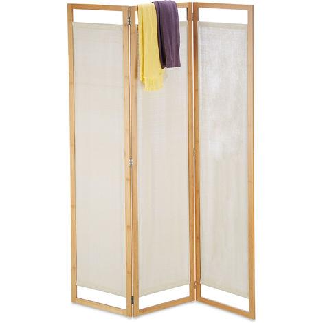Paravent, 3 pièces, séparateur de pièce pliable, brise-vue, en bambou et tissu, HxLxP 170x120x1,5 cm, naturel