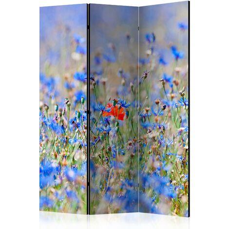Paravent 3 volets panneaux cloison séparateur de pièce pliable recto verso champ de fleurs 135x172 cm - noir