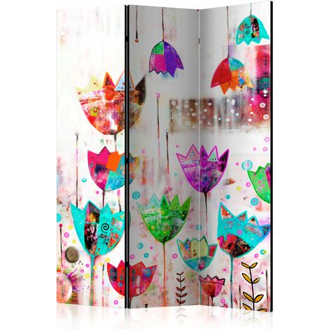 Paravent 3 volets panneaux cloison séparateur de pièce pliable recto verso Tulipes colorées 135x172 cm - or