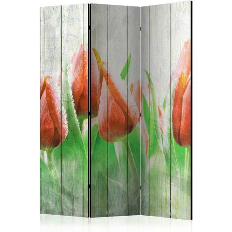 Paravent 3 volets panneaux cloison séparateur de pièce pliable recto verso Tulipes rouges sur bois 135x172 cm - rougeed