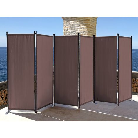 Paravent 340 x 165 cm Tejido Divisor de habitación Jardín 6-Partición Pared de separación Plegable Balcón Pantalla de privacidad Gris Marrón