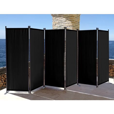 Paravent 340 x 165 cm Tejido Divisor de habitación Jardín 6-Partición Pared de separación Plegable Balcón Pantalla de privacidad Negro