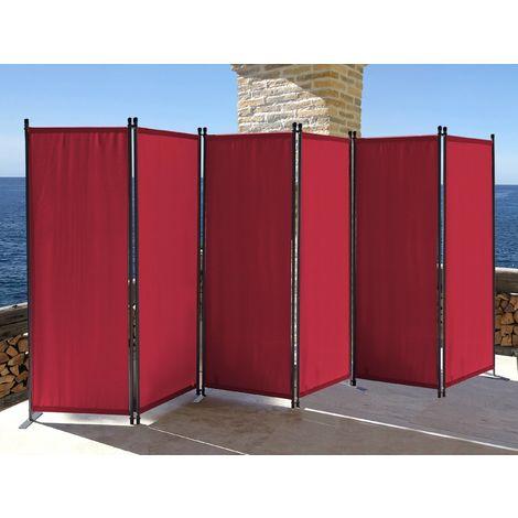 Paravent 340 x 165 cm Tejido Divisor de habitación Jardín 6-Partición Pared de separación Plegable Balcón Pantalla de privacidad Rojo Rubí