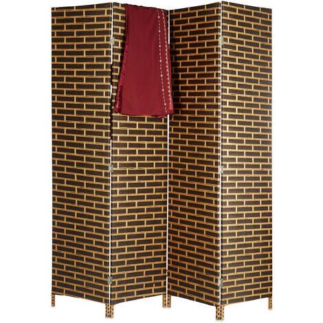 Paravent 4 panneaux 180 cm séparateur de pièce pliable brique cloison séparation, marron