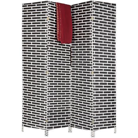 Paravent 4 panneaux 180 cm séparateur de pièce pliable brique cloison séparation, noir