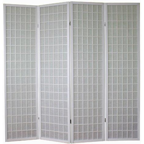 Paravent 4 panneaux pans en bois blanc et papier riz 175x175cm - blante
