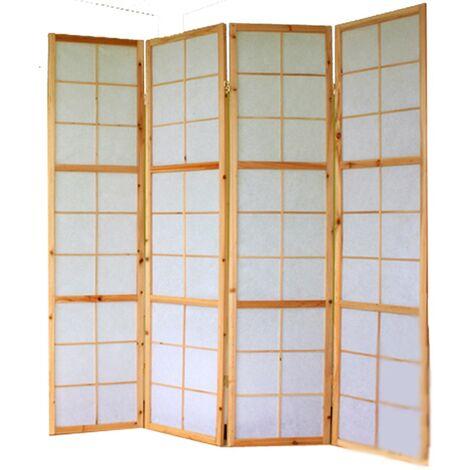 Paravent 4 panneaux pans en bois naturel et papier riz 175x176cm - noir