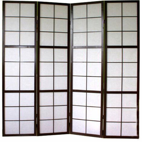 Paravent 4 panneaux pans en bois noir et papier riz 175x176cm - noir